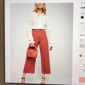 Free people button fly wide leg trouser